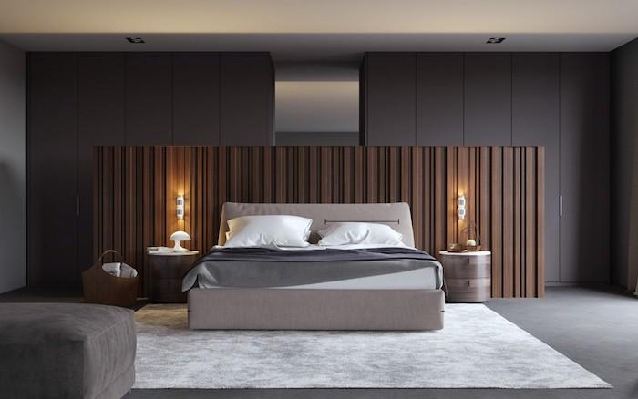 grey walls, wooden head boards, grey floor, white carpet, small master bedroom ideas, grey ottoman