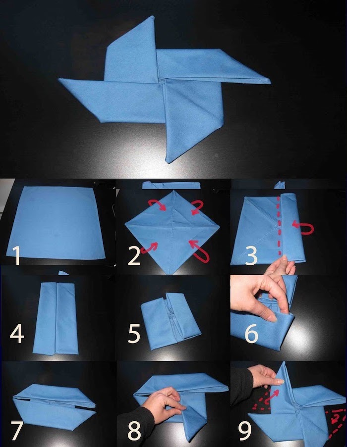 step by step, diy tutorial, blue napkin, folded in the shape of a fan, napkin folding with rings