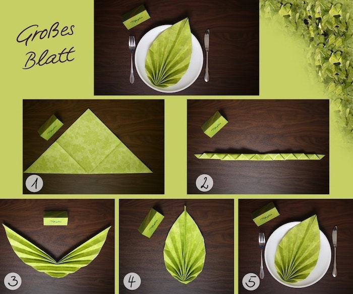 leaf shaped, green napkin, diy tutorial, napkin folding with rings, step by step