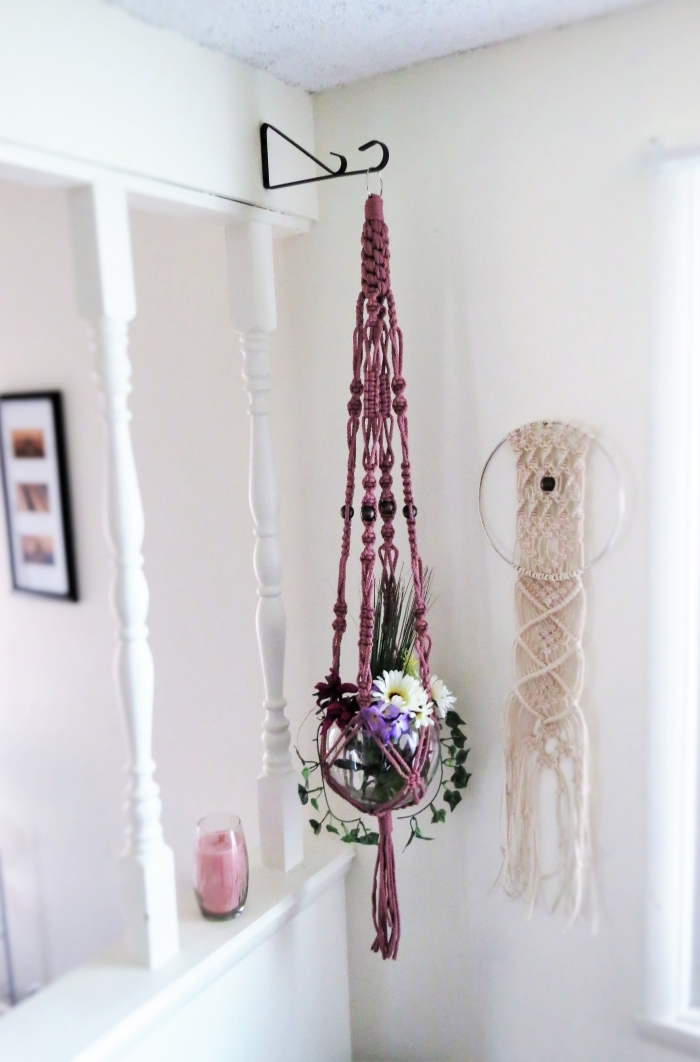 purple plant hanger, how to make macrame wall hanging, white walls, flower bouquet
