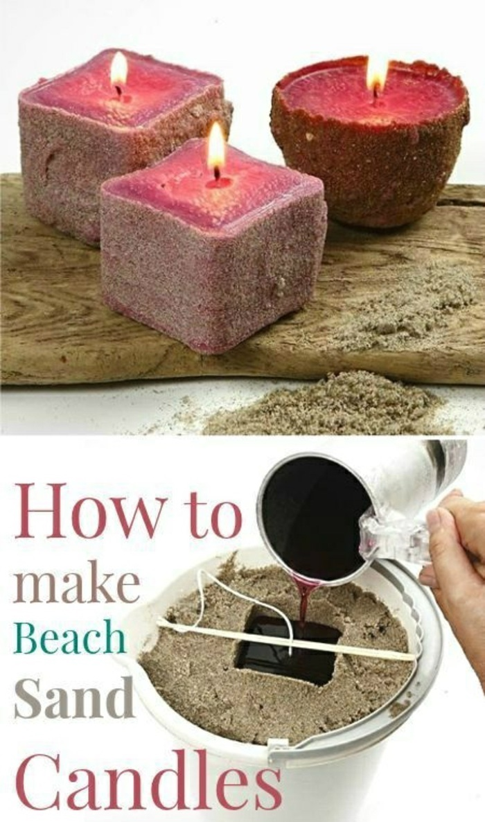 how to make a candle wick, how to make beach sand candles, step by step, diy tutorial
