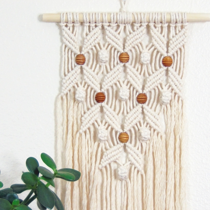potted succulent, how to make macrame wall hanging, white wall, wooden beads