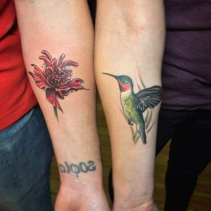 hummingbird and flower, forearm tattoos, small matching tattoos