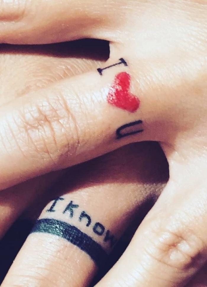 i heart you, i know, finger tattoos, couple tattoo ideas