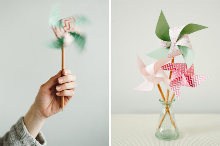 glass vase filled with paper fans, side by side photos, fun indoor activities for kids