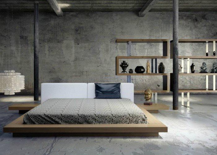 industrial style, wooden bed frame, small master bedroom ideas, wooden bookshelves, grey floor