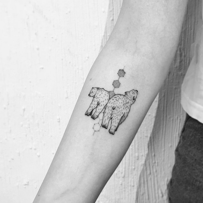 two polar bears, forearm tattoos for women, white background