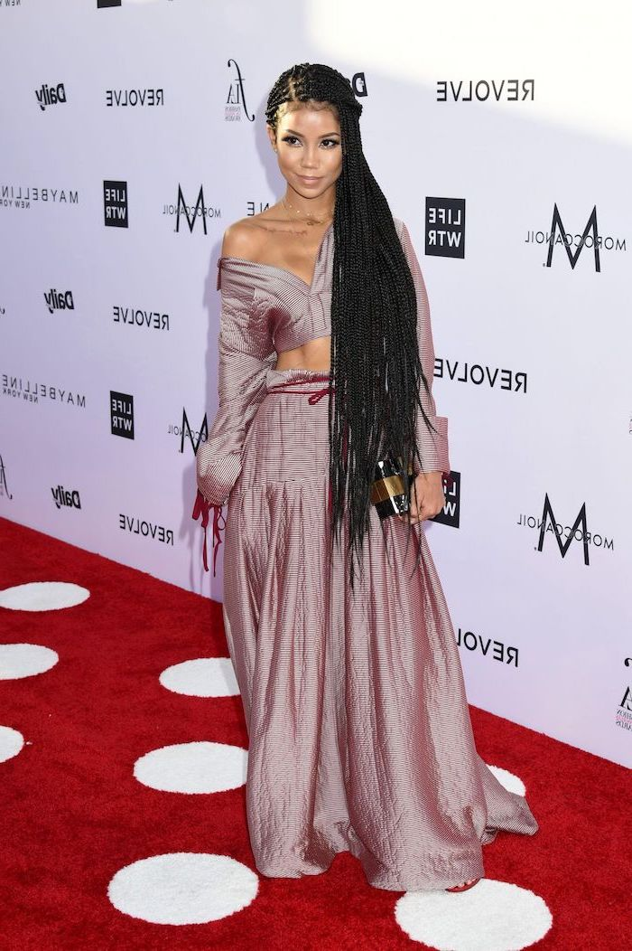 jhene aiko on the red carpet, wearing a light purple set, cornrow braid hairstyles, on black hair