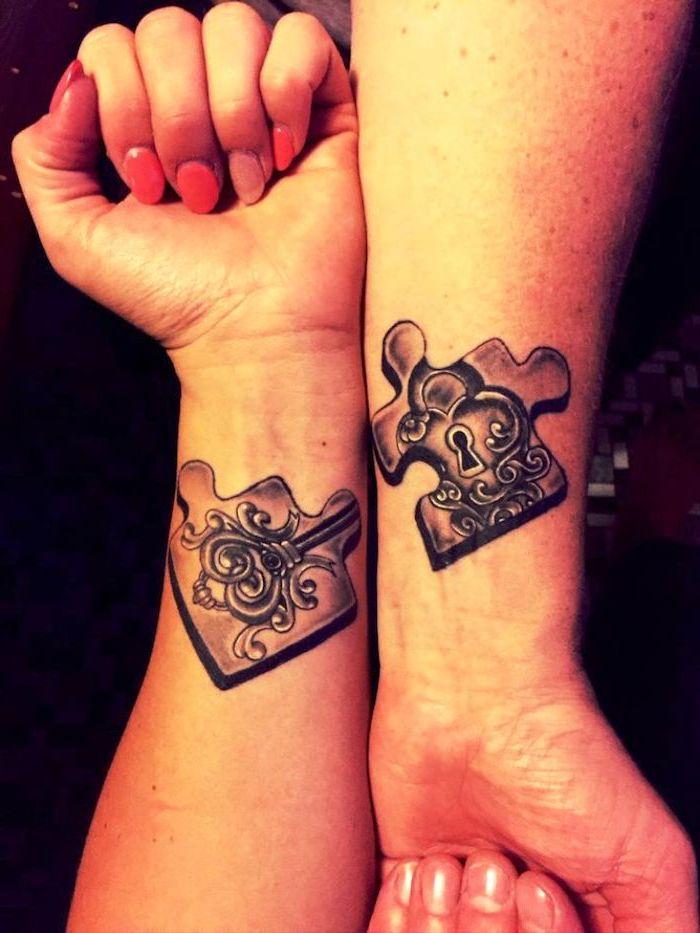 jigsaw puzzle pieces, small matching tattoos, lock and key, wrist tattoos