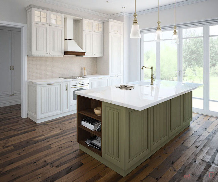 green wooden kitchen island, marble countertops, mosaic backsplash, kitchen island with stove