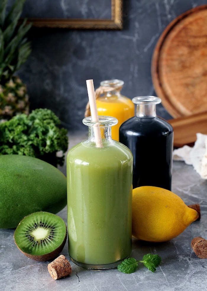 tall glass bottles, healthy smoothie recipes, kiwi and lemon, mango and pineapple