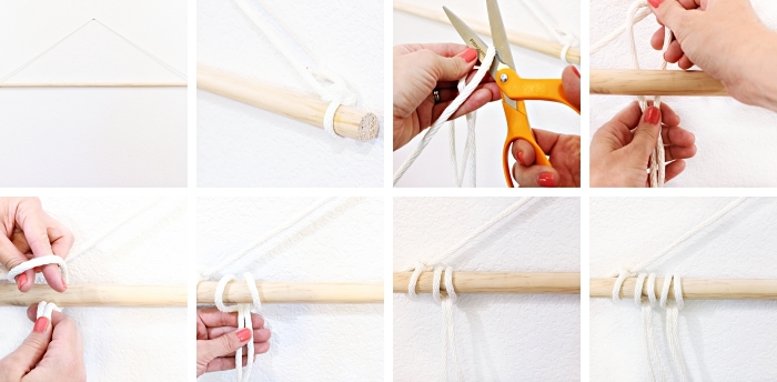 step by step, diy tutorial, woven wall hanging, white macrame, orange scissors