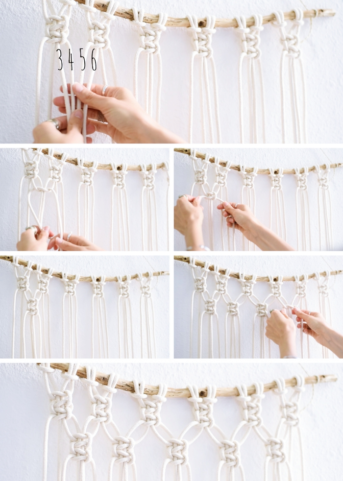 step by step, diy tutorial, macrame patterns, woman knotting, white wall