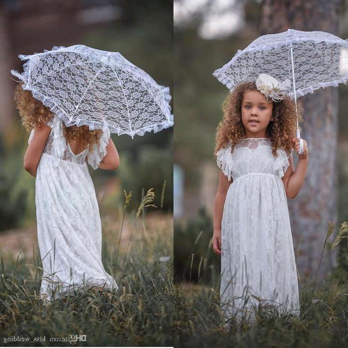 vintage white lace umbrella, white lace dress, brown curly hair, small white hat, flower girl hair