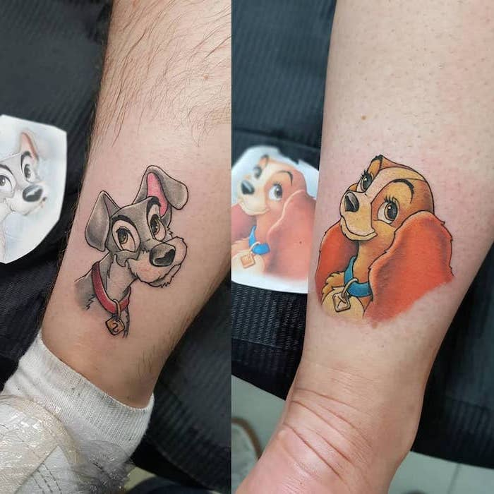lady and the tramp, back of leg tattoos, soulmate tattoos, side by side photos