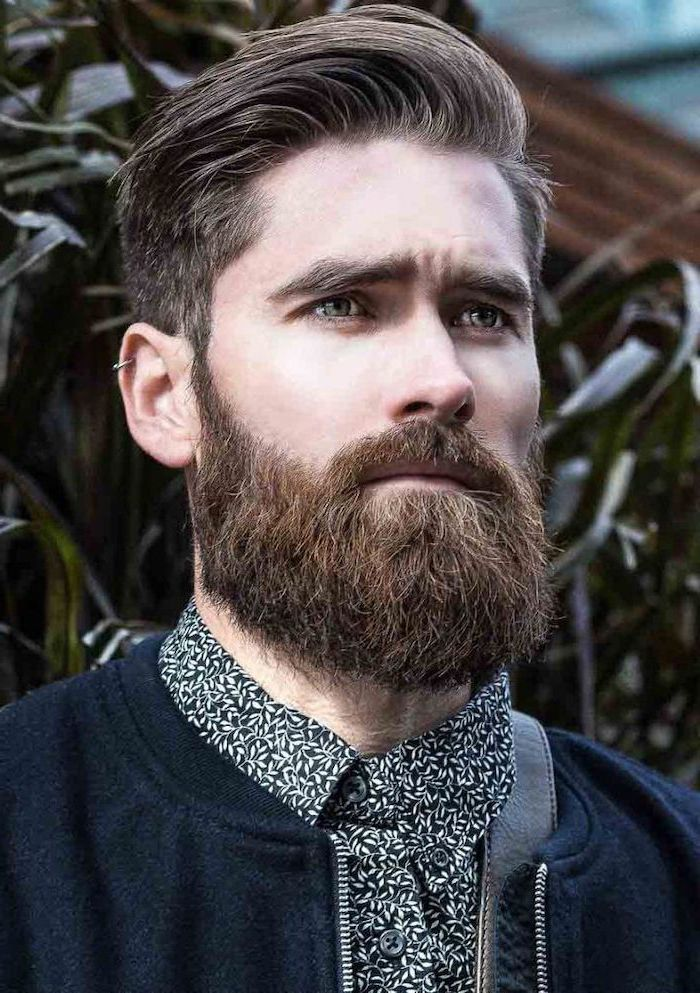 brown hair and beard, hair styles for men, black jacket, black and white shirt