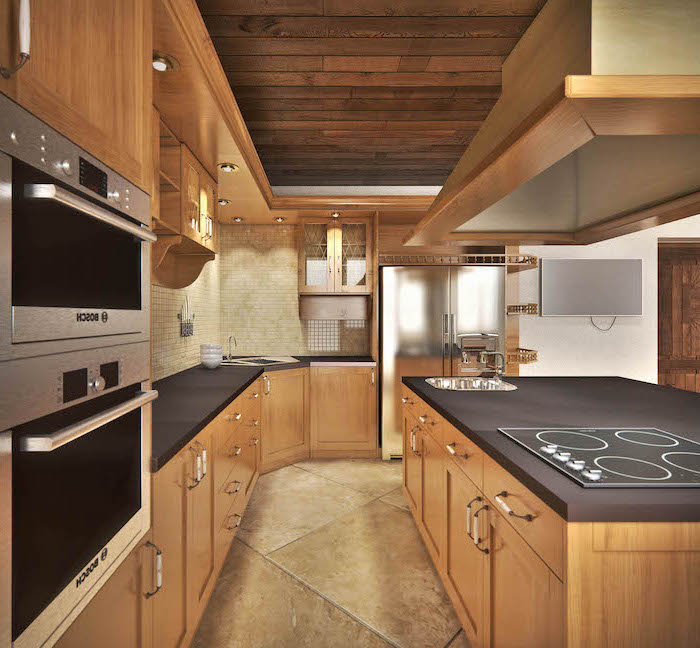wooden ceiling, kitchen island countertop, wooden cabinets and drawers, tiled floor