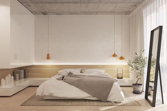 white walls, led lights, master bedroom decor, wooden floor, tall mirror, hanging lamps