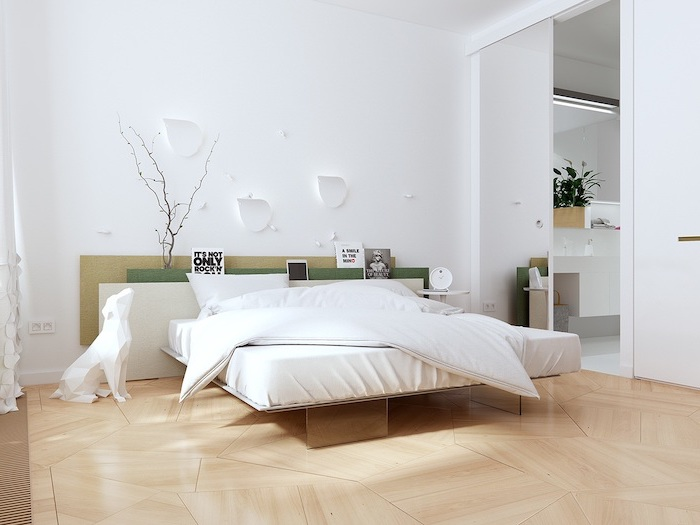 wooden floor, small master bedroom ideas, white walls, tall mirror, wooden bed frame