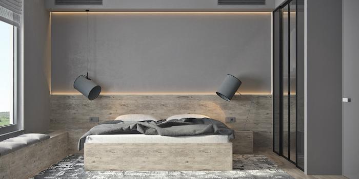 grey walls, led lights, master bedrooms, wooden bed frame, black and white carpet