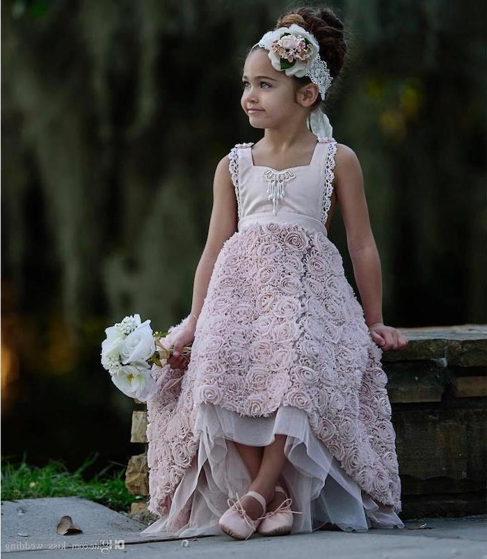 girl sitting on a wooden bench, wearing a light purple dress, lace roses, little girl dresses, pink shoes