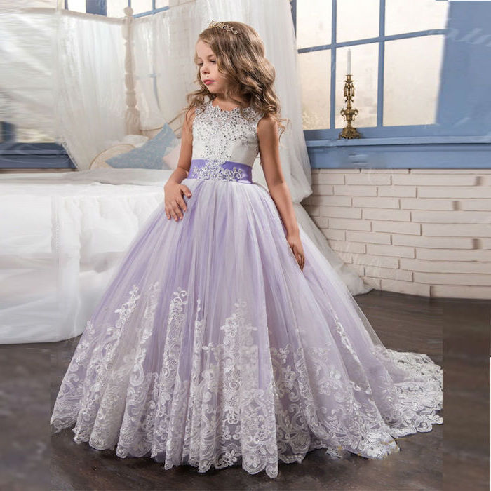 ivory flower girl dresses, purple tulle, white lace, long dress, wooden floor, blonde wavy hair