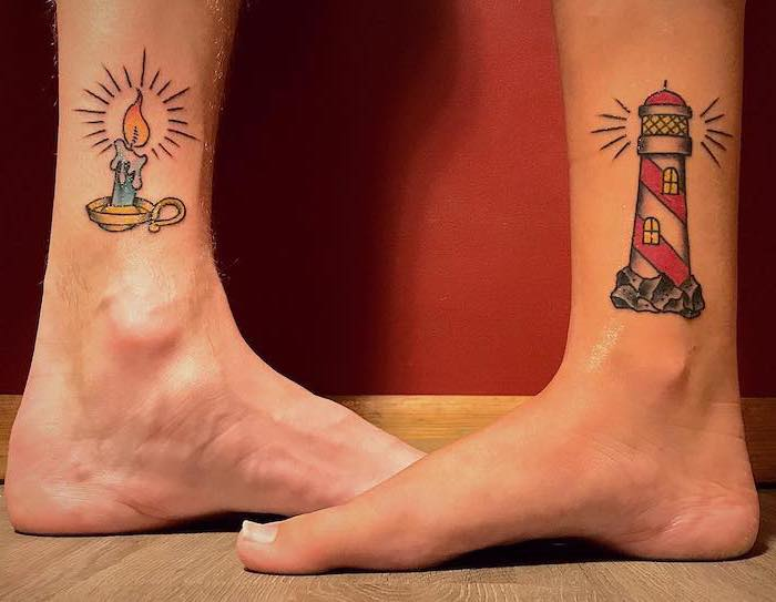 candle light and lighthouse, ankle tattoos, soulmate tattoos, wooden floor