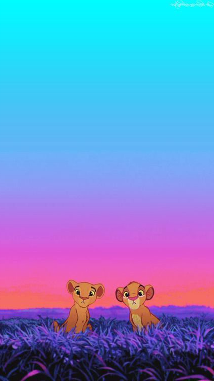 pink iphone wallpaper, the lion king inspired, blue and pink background