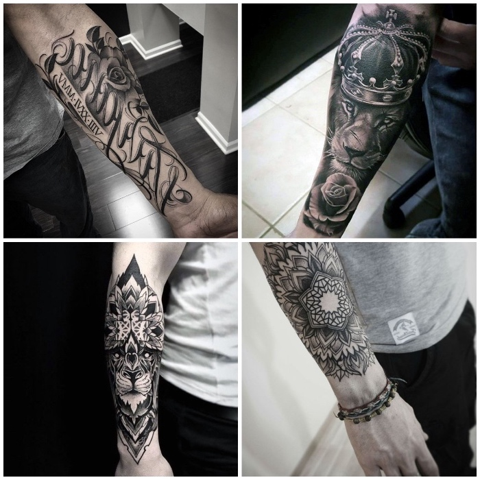 side by side photos, forearm sleeve tattoo, lion with a crown, mandala tattoos