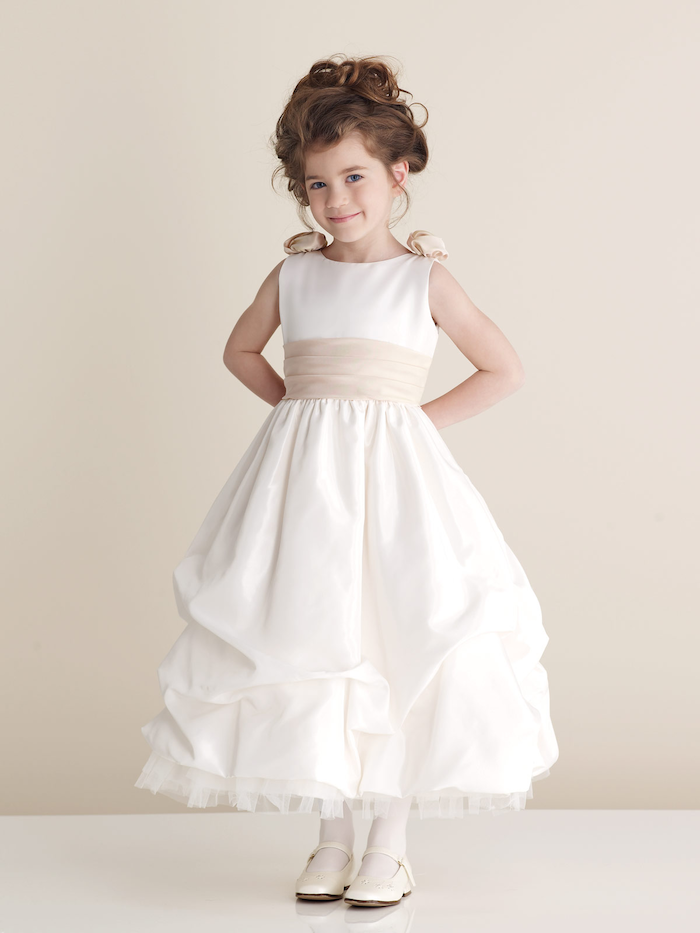 white shoes, white dress, ivory ribbon, brown hair, low updo, ivory flower girl dresses