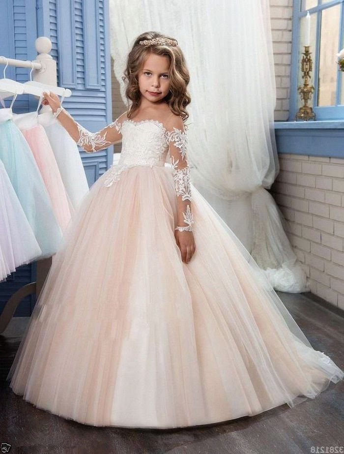 white lace, pink tulle, long dress, ivory flower girl dresses, blonde wavy hair, white brick wall, wooden floor
