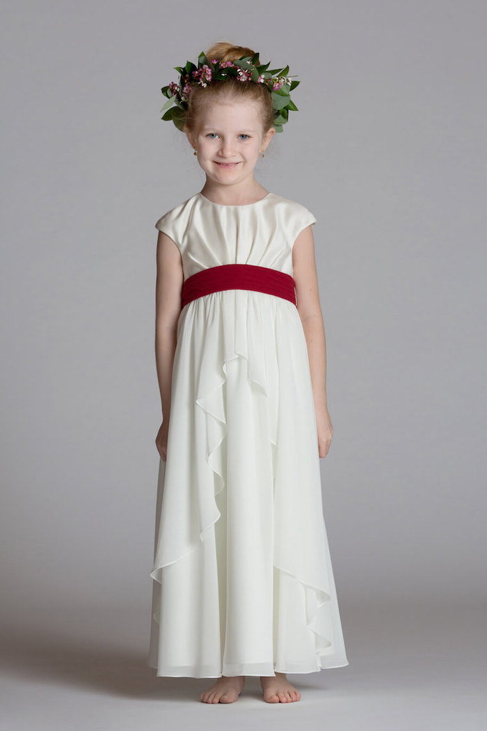 white dress, red ribbon, flower crown, blonde hair, low updo, ivory flower girl dresses