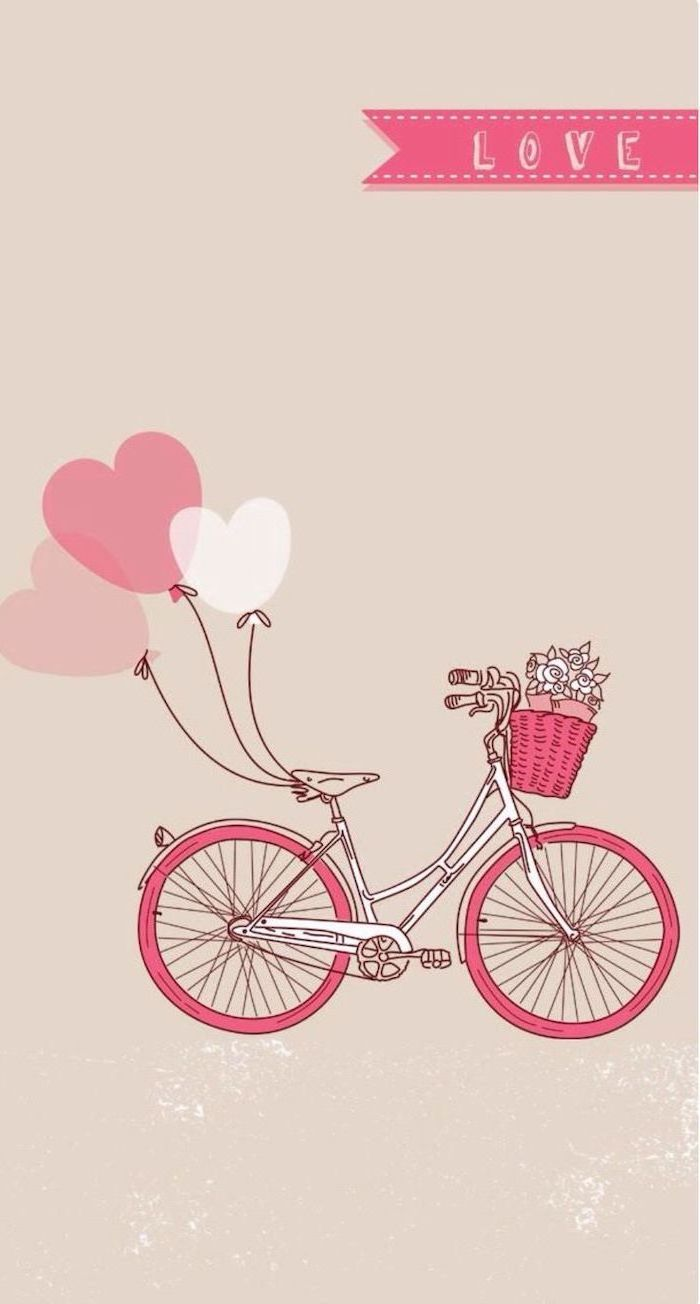 pink bicycle, heart balloons, pink iphone wallpaper, flower basket