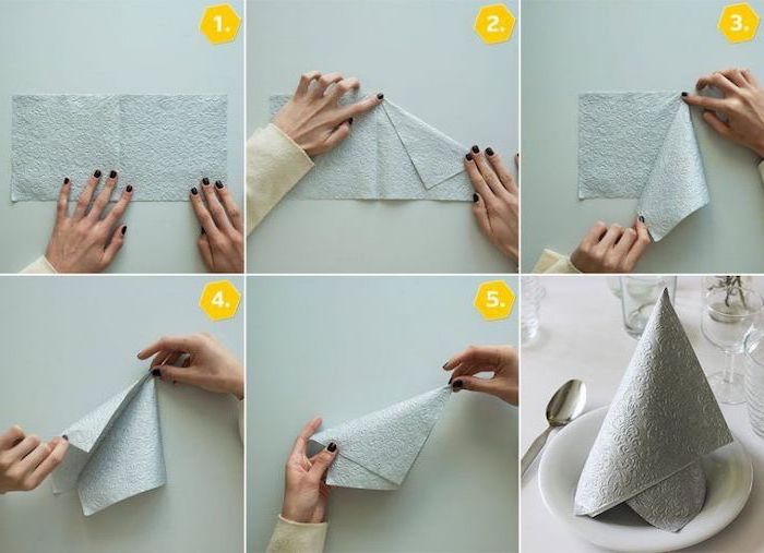 napkin folding with rings, step by step, diy tutorial, grey napkin, on a white plate