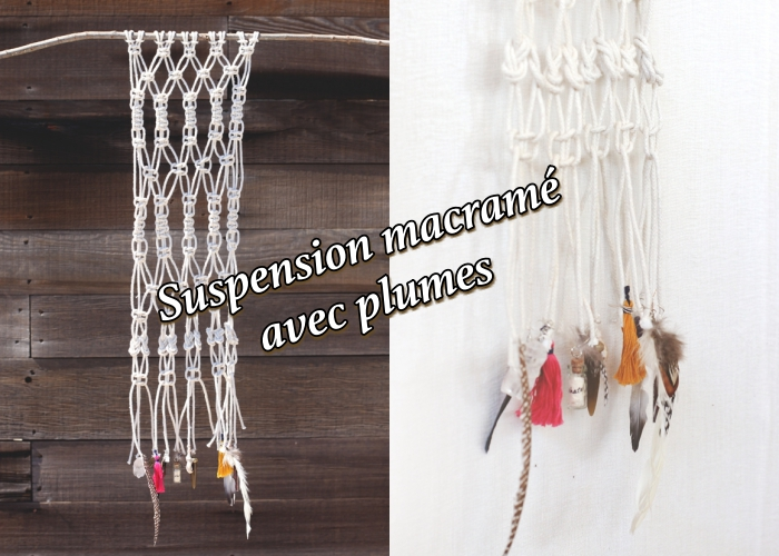 macrame wall hanging diy, with feathers, side by side photos, wooden wall, white wall