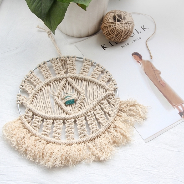 how to do macrame, potted plant, white ceramic pot, eye shaped decoration, fashion magazine