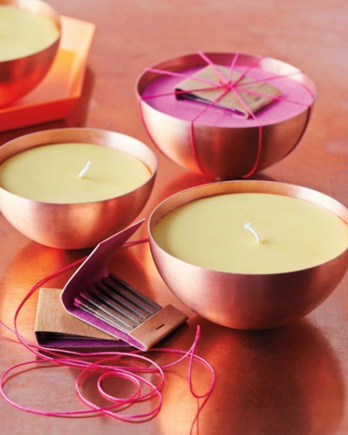 candle wedding favors, brass bowls, candle wax inside, box of matches, pink ribbon