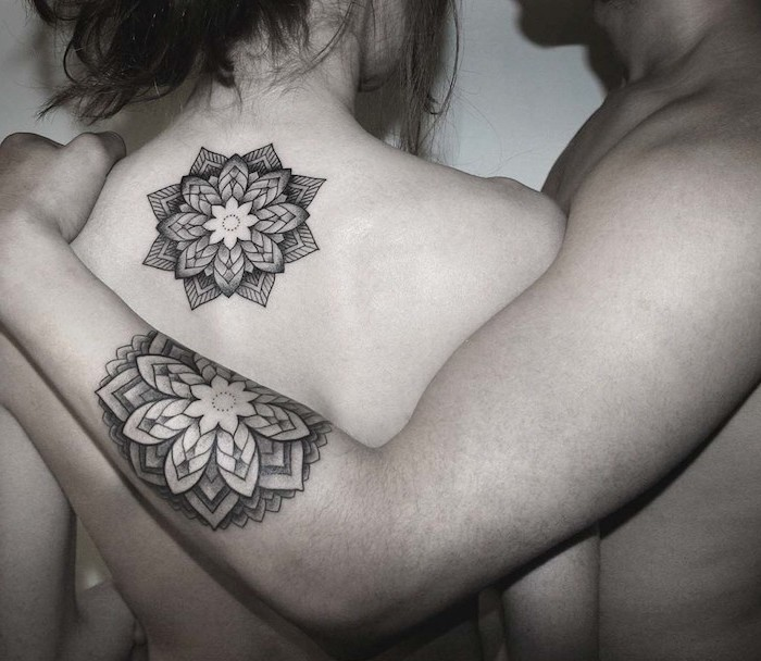 mandala flower, back and arm tattoos, husband and wife tattoos