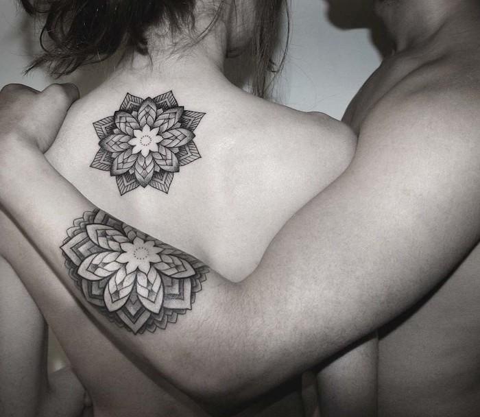 mandala flower, back and arm tattoos, husband and wife tattoos