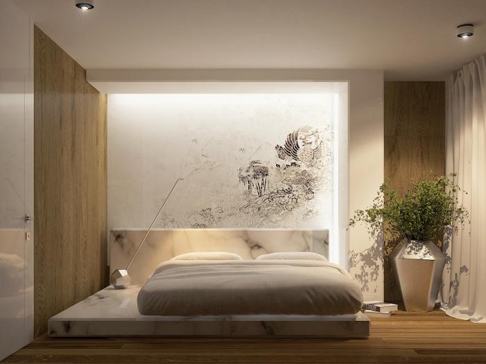 marble bed, wooden walls, abstract wall art, wooden floor, master bedroom decor