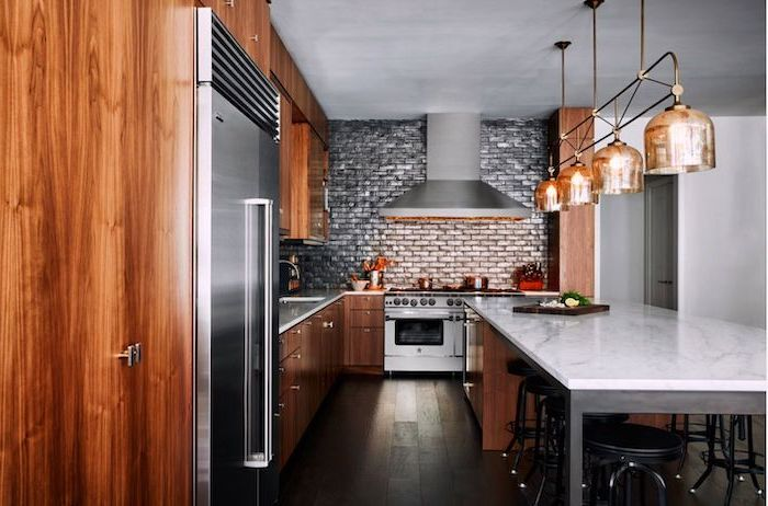 grey brick tile backsplash, marble countertops, black metal bar stools, kitchen island countertop
