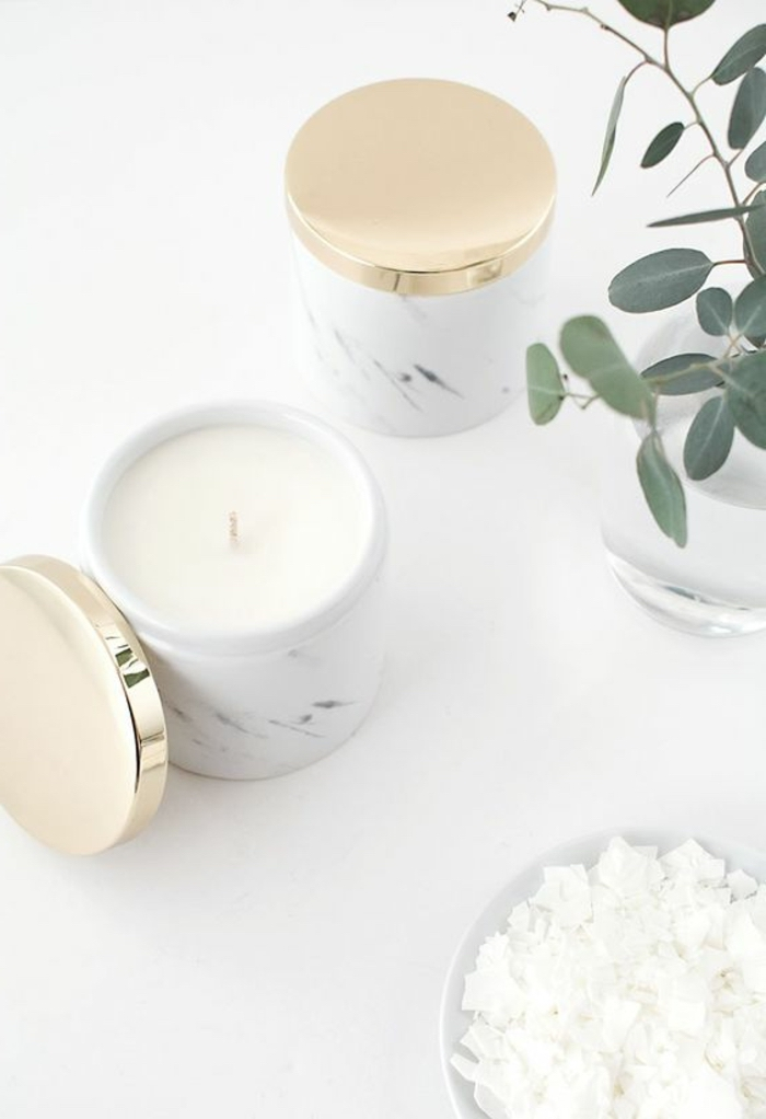 marble boxes, with golden lids, candle wax inside, on a white countertop, how to make candle wax