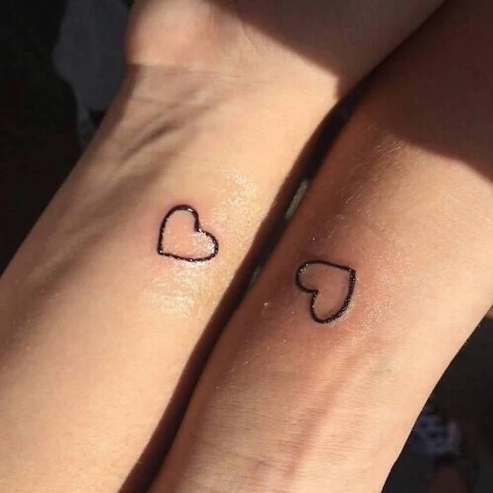 small hearts, wrist tattoos, husband and wife tattoos