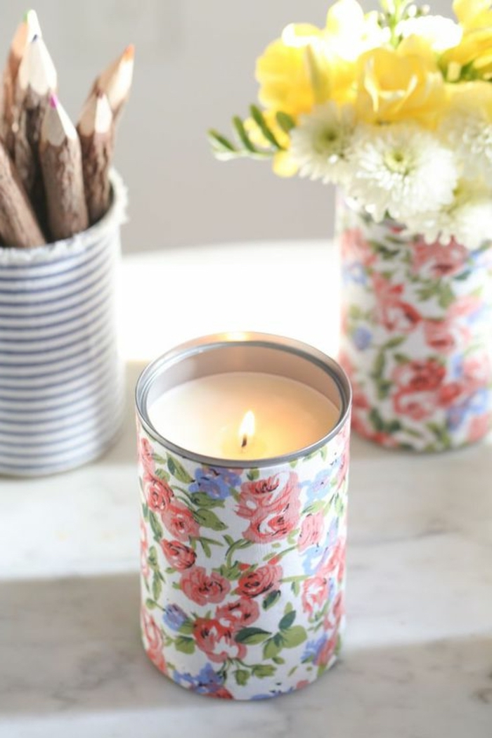 decoupage tin cans, filled with wax candles, mason jar candles, flower bouquets, wooden pencils
