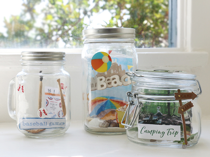 memories in mason jars, hands on activities, baseball game, camping trip, day on the beach