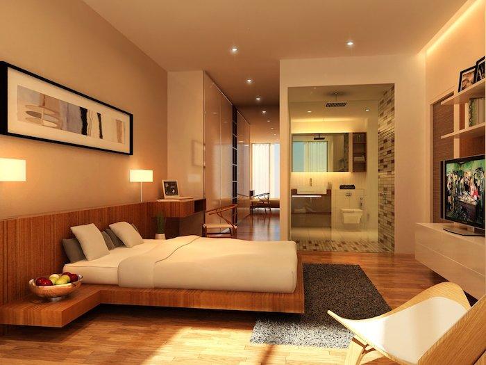 wooden floating bed frame, master bedrooms, wooden floor, grey rug, beige walls