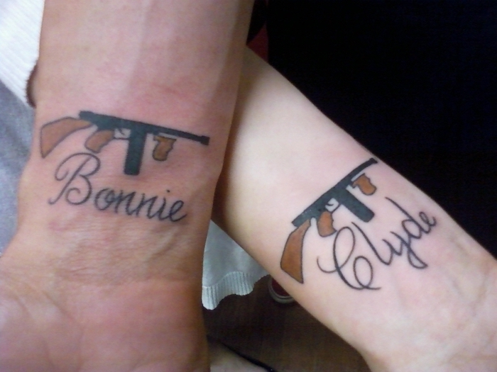 bonnie and clyde, automatic weapons, unique couple tattoos, wrist tattoos