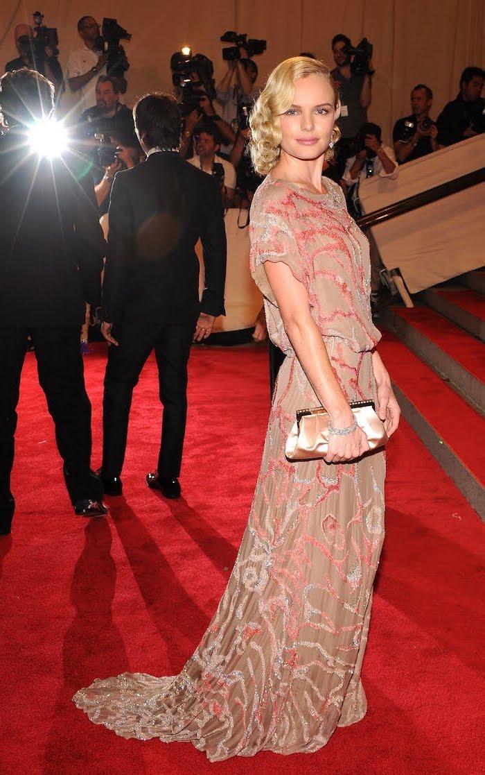 nude dress, blonde curly hair, kate bosworth, met gala red carpet, nude clutch bag
