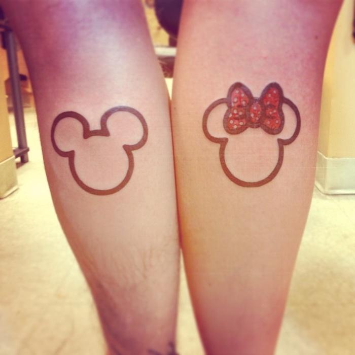 mickey and minnie, boyfriend and girlfriend tattoos, back of leg tattoos, disney inspired