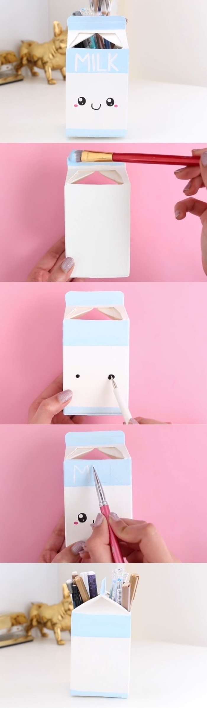milk carton, turned into a pencil holder, hands on activities, step by step, diy tutorial
